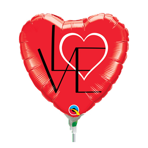 22cm Love L(Heart)VE Red Foil Balloon #58560AF - Each (Inflated, supplied air-filled on stick)
