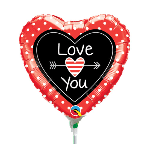 22cm Love You Dots & Arrows Foil Balloon #58562AF - Each (Inflated, supplied air-filled on stick)