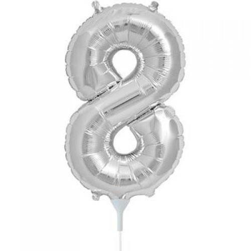 41cm Number 8 Silver Foil Balloon - Air Fill ONLY #59097 - Each (Pkgd.)