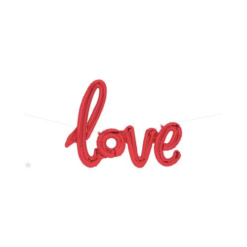 100cm Script Love Red Foil Balloon - Air Fill ONLY #59788 - Each (Pkgd.)