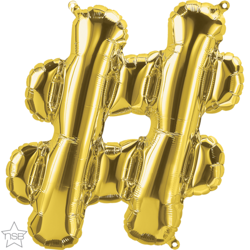 86cm Symbol Hashtag # Gold Foil Balloon #59909 - Each (Pkgd.) AIR-FILL ONLY