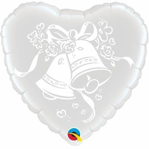 45cm Heart Foil Wedding Bells #63786 - Each (Pkgd.)