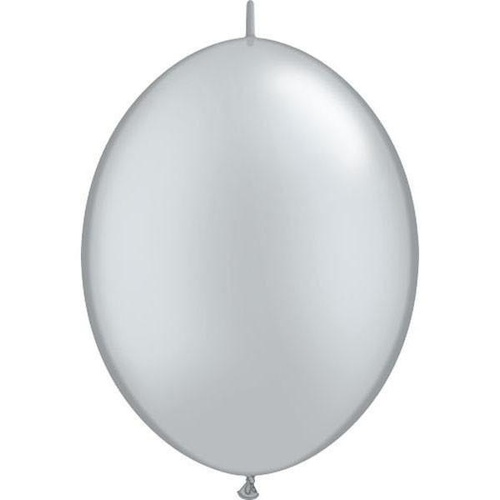 30cm Quick Link Silver Qualatex Quick Link Balloons #65243 - Pack of 50