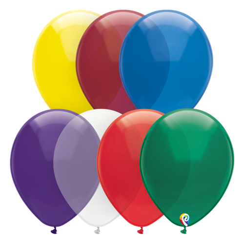 30cm Crystal Assorted Funsational Plain Latex Balloons #72188 - Pack of 50
