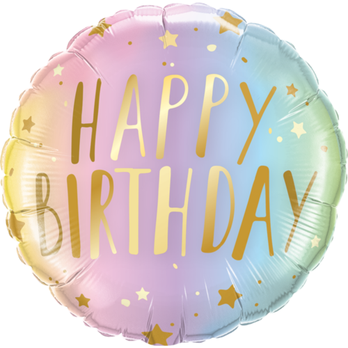 45cm Round Foil Birthday Pastel Ombre & Stars #88052 - Each (Pkgd.) TEMPORARILY UNAVAILABLE