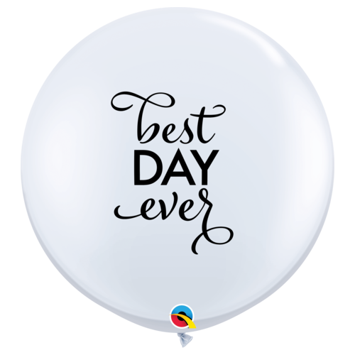90cm Round White Simply Best Day Ever #88201 - Pack of 2