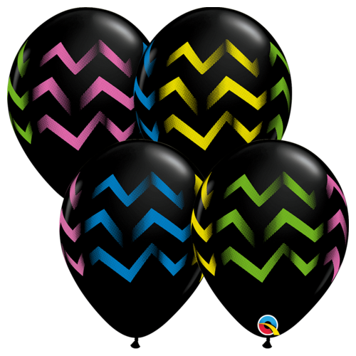 28cm Round Onyx Black Colorful Chevron Stripes #88211 - Pack of 50 SPECIAL ORDER