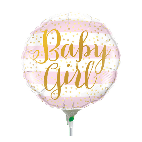 22cm Baby Girl Pink Stripes Foil Balloon #88497AF - Each (Inflated, supplied air-filled on stick)