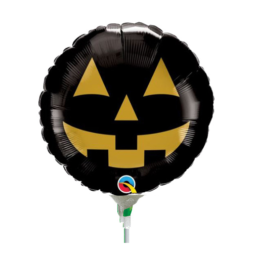 22cm Halloween Jack Face Black & Gold Foil Balloon #89741AF - Each (Inflated, supplied air-filled on stick)