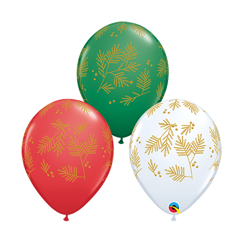 28cm Christmas Contemporary Evergreen Special Assorted Latex Balloons #9022625 - Pack of 25