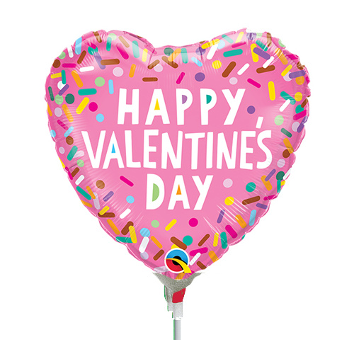 22cm Valentine's Sprinkles Foil Balloon #97138AF - Each (Inflated, supplied air-filled on stick)