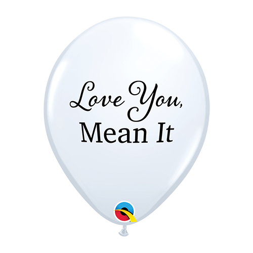 28cm Love Simply Love You, Mean It White Latex Balloons #97144 - Pack of 50 SPECIAL ORDER ITEM