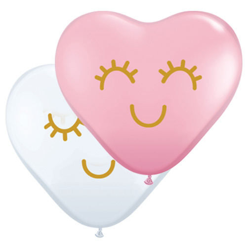 28cm Eyelashes Face Assorted Pink & White Heart Latex Balloons #9714725 - Pack of 25 TEMPORARILY UNAVAILABLE