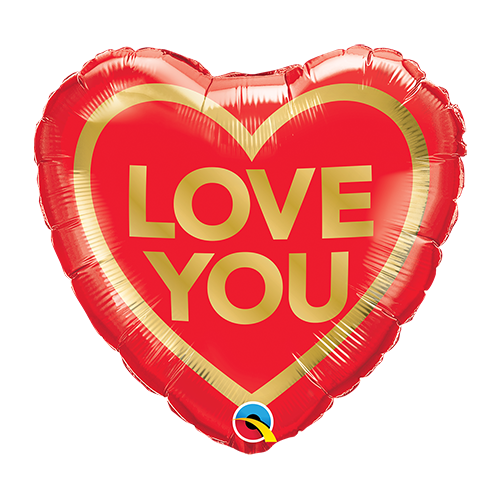 45cm Love You Golden Heart Foil Balloon #97168 - Each (Pkgd.)
