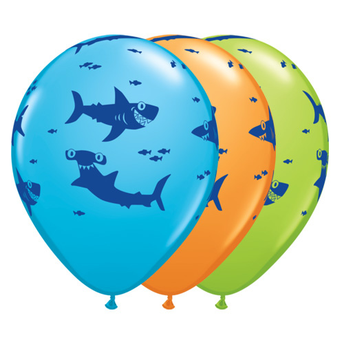 28cm Fun Sharks! Assorted Latex Balloons #97535 - Pack of 50
