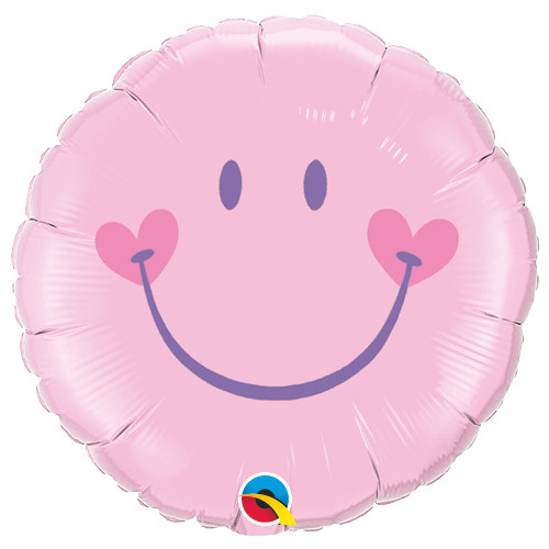 45cm Round Foil Sweet Smile Face-Pink #99573 - Each (Pkgd.)