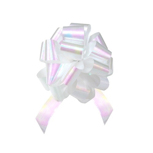QuickBow Pull Bow Pearlescent White 30mm Satin Ribbon #GP30PSBIPP11 - Roll of 12