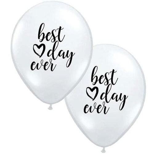 28cm Round White Best Day Ever #JT100125 - Pack of 25