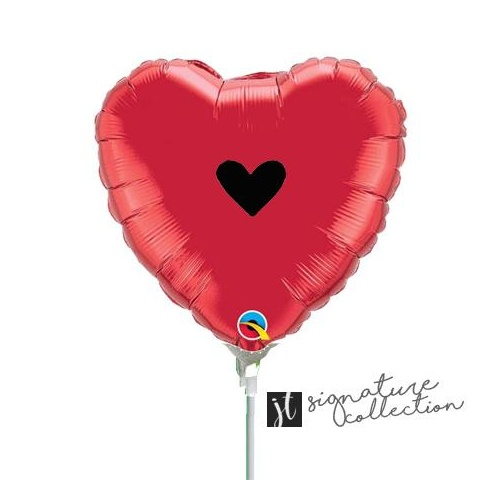 10cm Signature Heart Black Red Foil Balloon #JT1018 (Inflated, supplied air-filled on stick)
