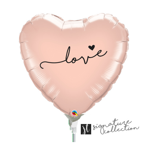 22cm Love Script Heart Rose Gold Foil Balloon #JT1020 (Inflated, supplied air-filled on stick) TEMPORARILY UNAVAILABLE