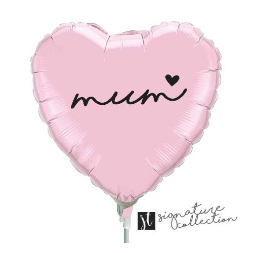22cm Mum Script Heart Pearl Pink Foil Balloon #JT1024 (Inflated, supplied air-filled on stick)