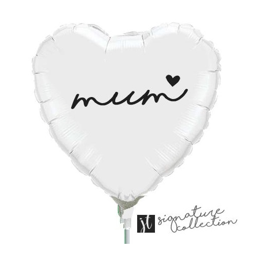 22cm Mum Script Heart White Foil Balloon #JT1026 (Inflated, supplied air-filled on stick)