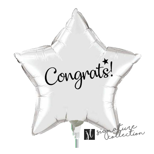 22cm Congrats Script Star Silver Foil Balloon #JT1028 (Inflated, supplied air-filled on stick)