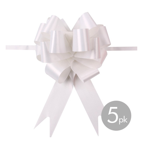 QuickBow Pull Bow White 30mm Satin Ribbon #JT1034 - Pack of 5 TEMPORARILY UNAVAILABLE
