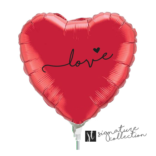 22cm Love Script Heart Red Foil Balloon #JT1044 (Inflated, supplied air-filled on stick)