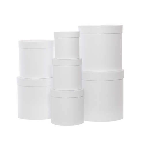 Hat Box Round White #KC2307RWH - Set of 7 TEMPORARILY UNAVAILABLE