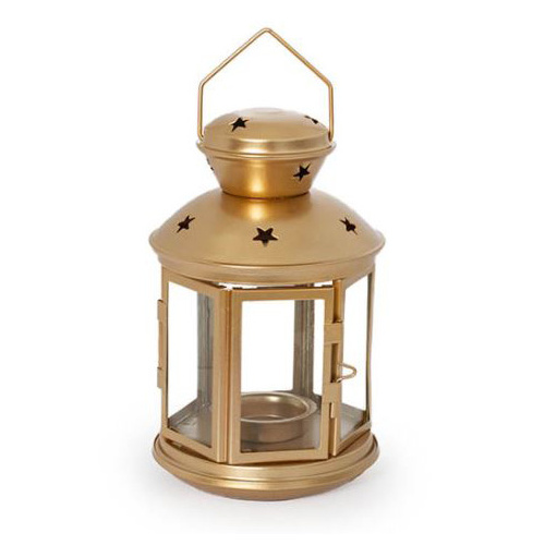 Metal Lantern Hanging Gold (12x19cm)  #KC33009191GO - Each