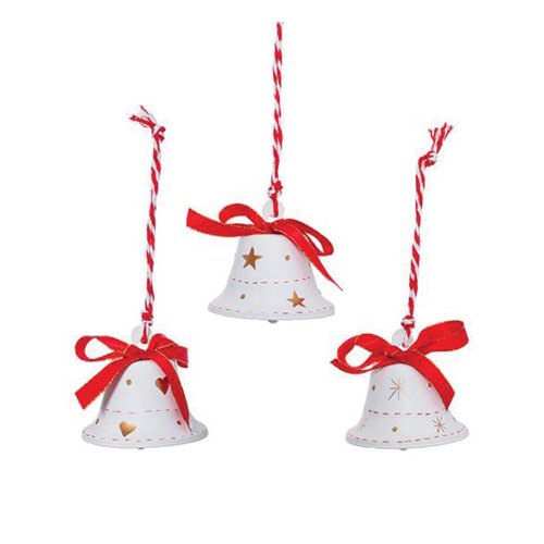 Christmas Metal Hanging Bells Pack 3 White (6.5cmH)  #KC33009249WH - Each