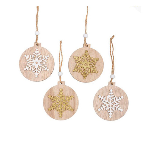 Christmas Wooden Hanging Decoration Set 8 White Gold (7.5x0.5x8cm)  #KC33009282NA - Each