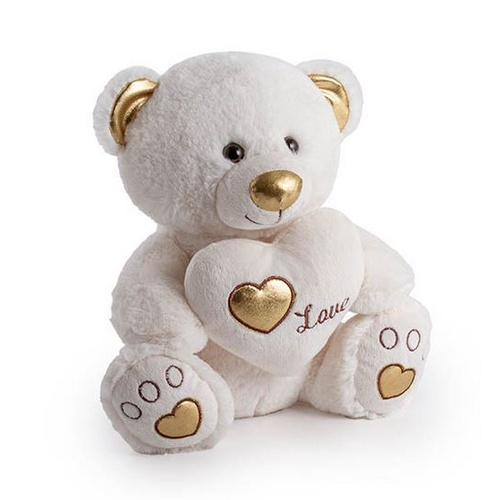 Soft Toy Princess Bear with Heart on the Feet White 24cm #KC4808669 - Each